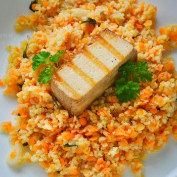 bulgur, šošovica, tofu, recept, fitrecept, fitness recept, ľahký obed