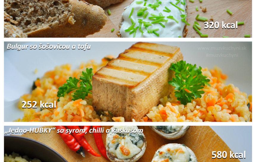 fitrecepty, fitness jedálniček, raňajky, obed, večera, pomazánka, bulgur, tofu, recepty, huby, chilli, cesnak