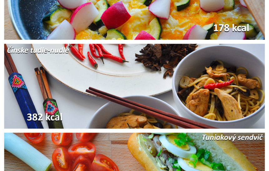 fitness, jedálniček, raňajky, obed, večera, miešané vajíčka, praženica, cuketa, čínska ázijská kuchyňa, čínske rezance, kuracie mäso, tuniakový sendivč, tuniak, vajíčko, zelenia