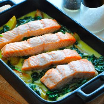 recept, losos, špenát, večera, obed, cesnak, zapečené, fitness recept, fitrecept, jedálniček