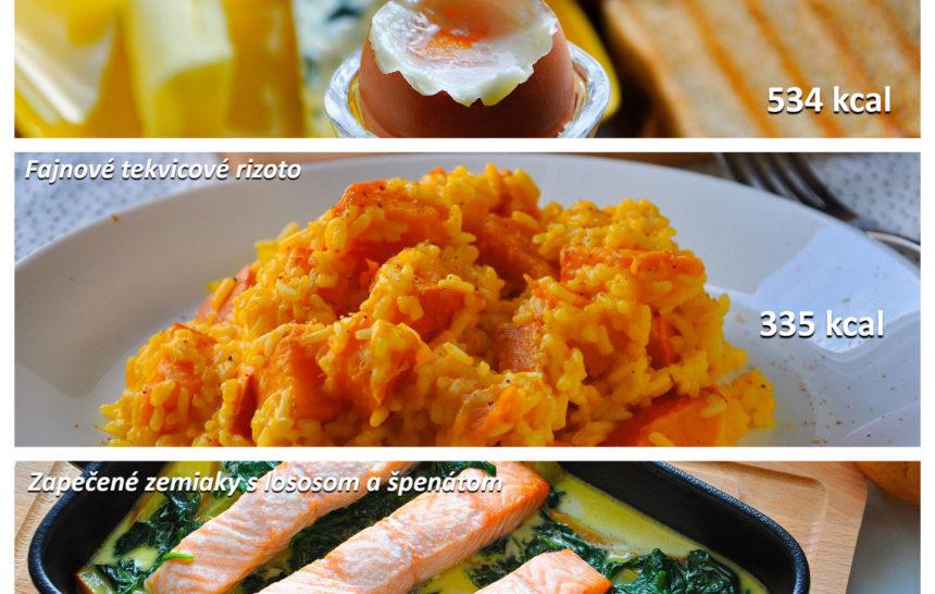 jedálniček, fitness jedálniček, raňajky, obed, večera