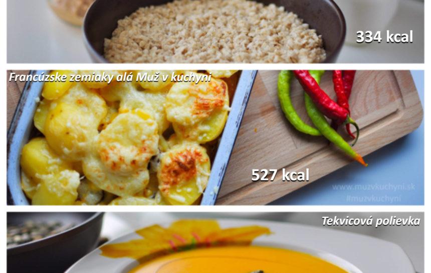 jedálniček, raňajky, obed, večera, muž v kuchyni, fitrecept, fitness recept, ovsené vločky, tekvicová polievka, francúzske zemiaky