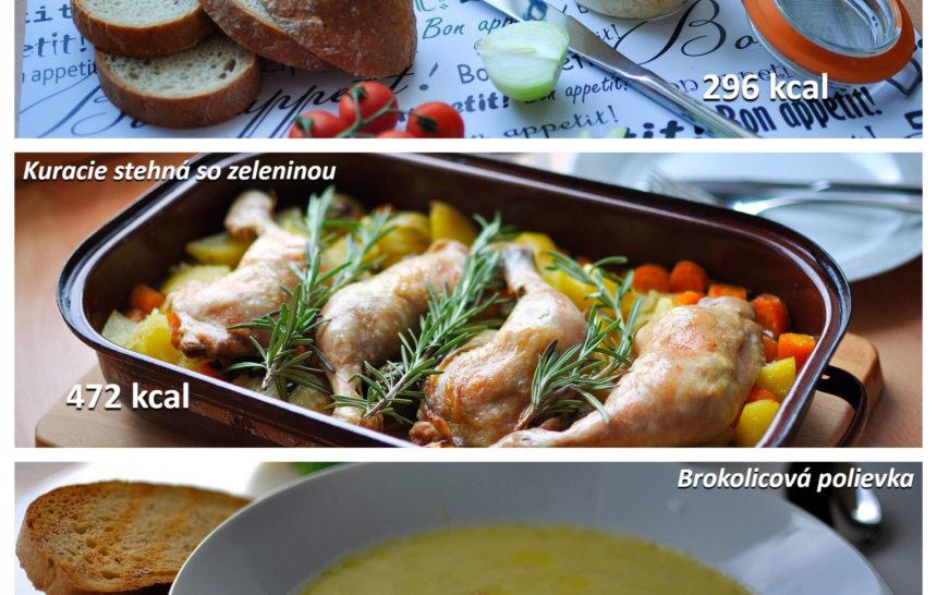 fitness jedálniček, raňajky, obed, večera, bryndzová pomazánka, kuracie stehná so zeleninou, brokolivová polievka