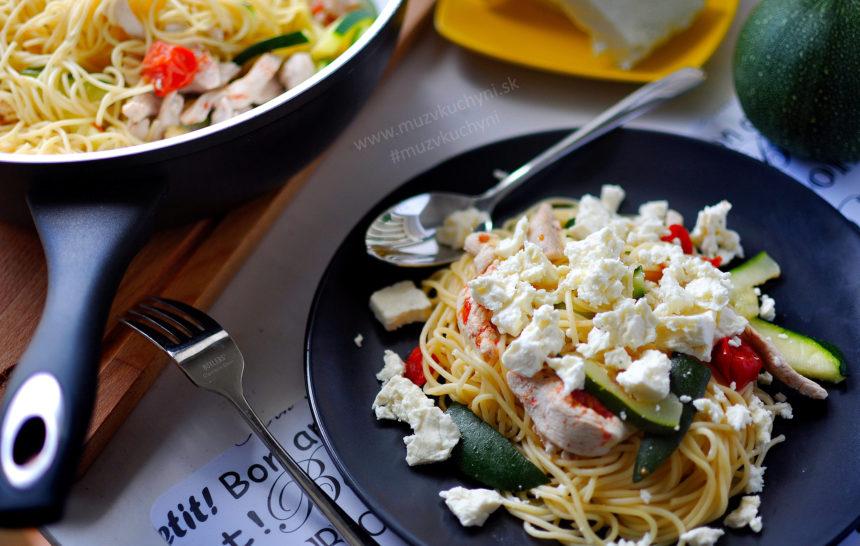špagety, recept, balkánsky syr, kuracie prsia, večera, cukina, cuketa, cherry paradajky, fitrecept, fitness recept, obed, čo variť, inšpirácia