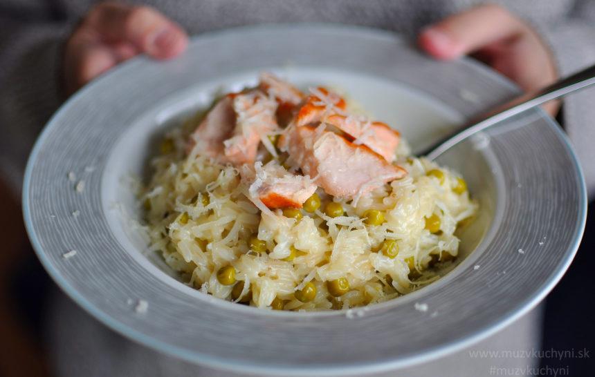 rizoto, parmezán, večera, recept, jednoduchý, rýchly, zdravý, MDŽ, valentín, losos, ryža, hrášok, hrach