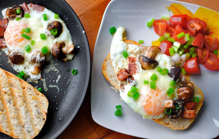 vajíčka, recept, raňajky, huby, rýchly, jednoduchý, čo si dať