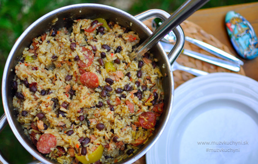 Congri, recept, rizoto, kubánsky, slanina, klobása, čierne fazule