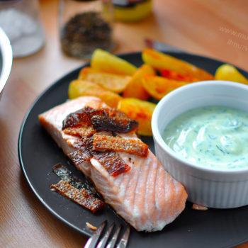 losos, recept, opečené zemiaky, kôprová omáčka, na grill